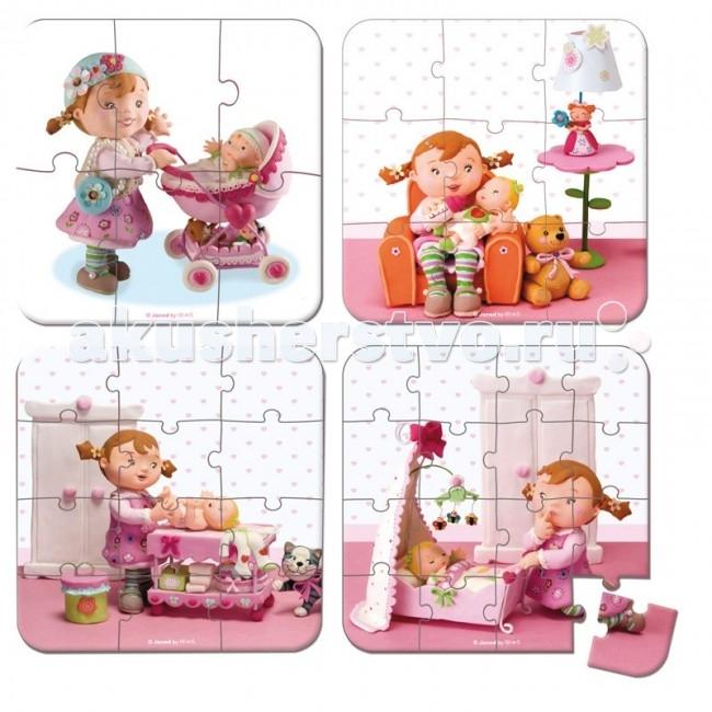 Janod Пазл Я - мама 4 в 1Пазл Я - мама 4 в 1Janod Пазл Я - мама, 4 в 1.  Пазл - это:  в переводе с английского puzzle - загадка, головоломка, представляющая собой мозаику, которую требуется составить из множества фрагментов рисунка различной формы. Является одной из самых доступных игрушек. Мозаики делятся по размеру элементов и размеру единой картины. Сложность мозаики определяется рисунком, а главным критерием является число элементов — чем оно выше, тем мозаика больше и сложнее. Мозаики бывают разных форм - классические прямоугольные, треугольные, круглые и овальные.  Детскими пазлами являются: мозаики от 54 элементов и выше, примерно до 260. Мозаики с размерами, превышающими 260 элементов, уже не предназначены для сбора детьми. Помимо классических мозаик, существуют также трёхмерные мозаики и мягкие мозаики, предназначенные для маленьких детей.  Пазл развивает: логическое мышление, внимание, память, воображение такие чудо-картинки очень полезны для развития мышления и познавательных способностей человека по мнению психологов, игра в пазлы способствует развитию образного и логического мышления, произвольного внимания, восприятия, в частности, различению отдельных элементов по цвету, форме, размеру и т. д. учит правильно воспринимать связь между частью и целым развивает мелкую моторику рук. Детский пазл от французской компании Janod - веселые, смешные и познавательные детские рисунки - более 40 видов для мальчиков и девочек, а также деревянные пазлы для малышей от простых до сложных - 16-24-36-39-54-100-208 элементов от маленьких до больших - 20x20, 50x40, 50x50, 92x62, 53x116 и др малышам и детям постарше - от 1 года до 9 лет настольные классические пазлы и современные напольные ковры для детской. Все пазлы упакованы в красивые подарочные коробки из очень плотного жесткого картона с изображением рисунка и ручкой для переноски.   Пазл 4 в 1 Я - мама, 6-9-12-16 эл., производства французской компании Janod, предназначен для малышей от 3 лет.Новый сюжет-история из 4 