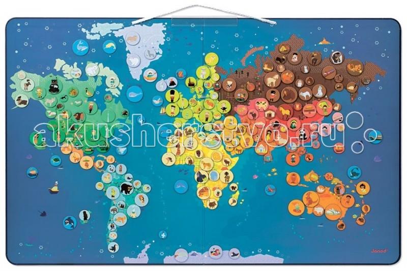 Janod Пазл магнитный Карта мира с животными