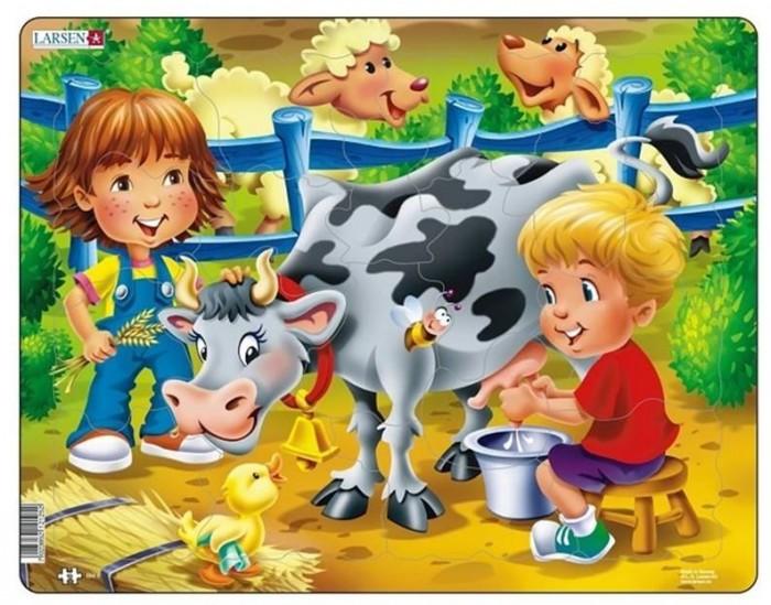 Картинка для Larsen Пазл Дети на ферме Корова