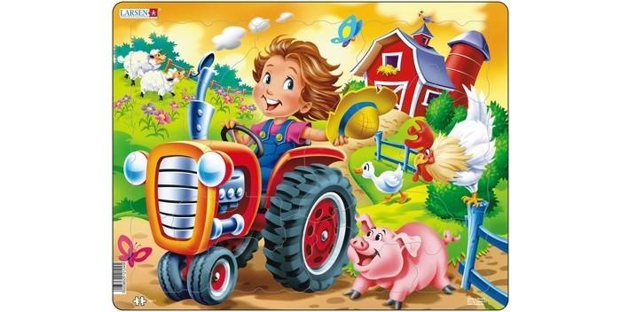 Картинка для Larsen Пазл Дети на ферме Трактор
