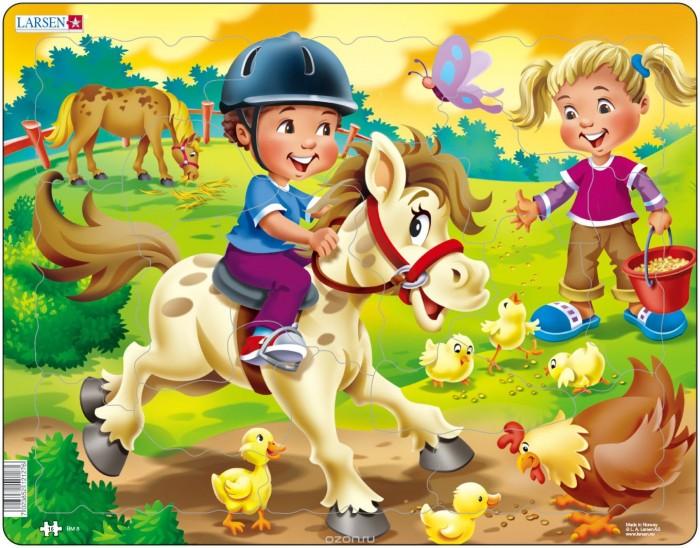 Картинка для Larsen Пазл Дети на ферме Пони