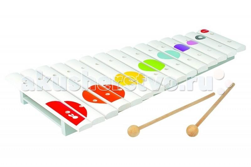 Музыкальная игрушка Janod Большой ксилофонБольшой ксилофонJanod Игрушка музыкальная Большой ксилофон.  Игрушка музыкальная Ксилофон 15 нот, производства французской компании Janod, предназначен для детей от 2 лет.Всем известно, что музыка благотворно влияет на психику детей, вырабатывает у них чувство гармонии, вызывает новые эмоции.   Ксилофон имеет 15 деревянных пластин. У игрушки приятный нежный звук. Он имеет оригинальный дизайн и веселую приятную расцветку: на белом фоне расположены яркие разноцветные кружочки в виде конфетти. Деревянные палочки убираются внутрь игрушки. Длина игрушки 41,5 см.Ксилофон издает приятные звуки и не станет головной болью для родителей, пока ребенок учится играть, кроме того инструмент прост в освоении как ребенком так и мамой.  Ксилофон изготовлен из натуральных безопасных для ребенка материалов.<br>
