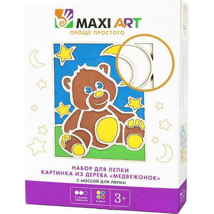 Всё для лепки Maxi Art Набор для лепки Картинка из дерева Медвежонок