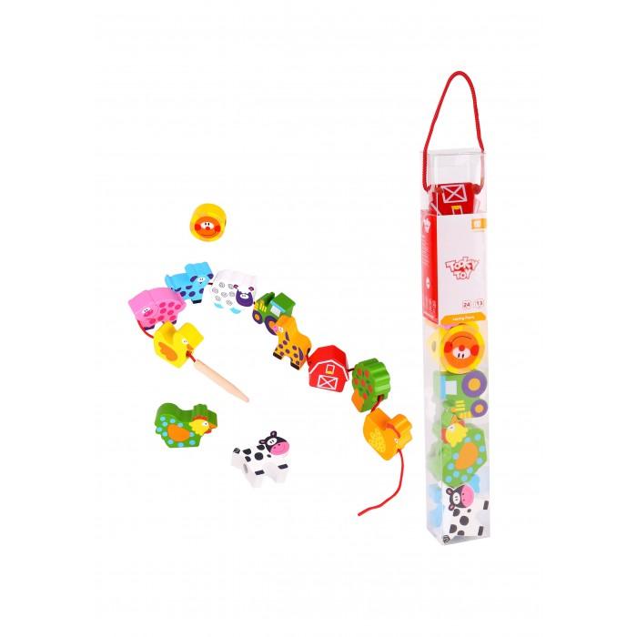 Фото - Деревянные игрушки Tooky Toy Шнуровка Собери ферму деревянные игрушки tau toy головоломка никитина собери квадрат 7 28х28 см