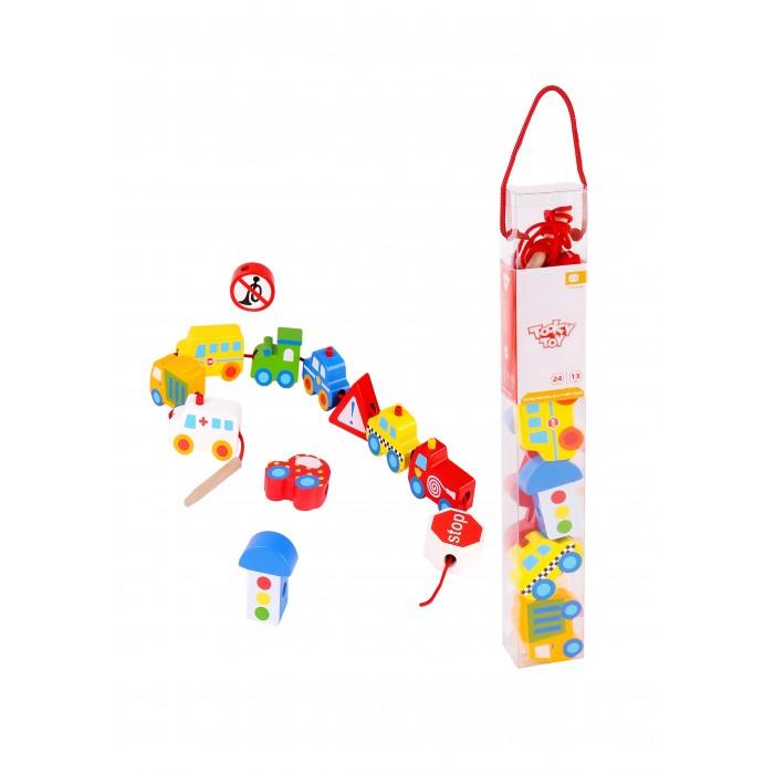 Фото - Деревянные игрушки Tooky Toy Шнуровка Собери транспорт деревянные игрушки tau toy головоломка никитина собери квадрат 7 28х28 см