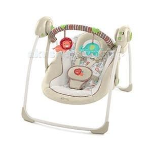 Электронные качели Bright Starts Комфорт и гармония Песочное сафариКомфорт и гармония Песочное сафариЭлектронные качели Bright Starts Комфорт и гармония Песочное сафари - это комфортное укачивание и веселые игрушки!   Особенности: Технология TrueSpeed обеспечивает выбор 6-ти скоростей по мере роста ребенка 2-х позиционное сиденье с технологией Comfort Recline  6 мелодий, регулировка громкости и автоматическое отключение  Съемная подушка-подголовник  Съемная перекладина с 2-мя забавными мягкими игрушками может поворачиваться для быстрого доступа к ребенку  Таймер с 3-мя режимами: 15, 30 и 45 минут 5-точечный ремень безопасности Легко складывается для хранения и путешествий Сиденье и подушку можно стирать в стиральной машине Специальные нескользкие ножки  4 батарейки типа С (не входят в комплект)  Максимальный вес ребенка: 9 кг. Тип батареек: 4 x C / LR14 1.5V, не входят в комплект. Размер коробки (длн-шрн-вст): 56 х 13 х 36 см. Размеры продукта: 57 х 72.5 х 58.5 см.  В комплекте: качели дуга<br>