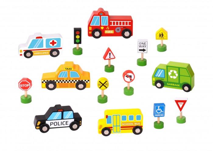 Деревянная игрушка Tooky Toy Игровой набор Транспорт и улица
