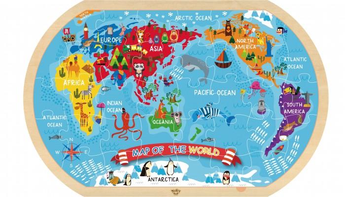 Деревянные игрушки Tooky Toy Пазл Карта мира