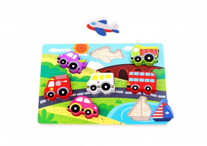 Деревянные игрушки Tooky Toy Пазл Транспорт деревянные игрушки анданте кубики пазл транспорт