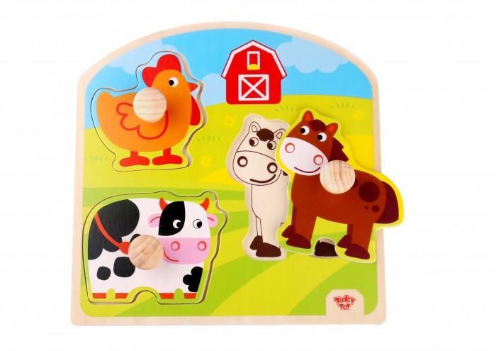 Деревянные игрушки Tooky Toy Пазл Ферма TKG021 спортивный инвентарь tooky toy игра кольца