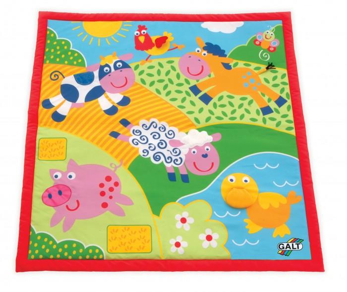 Игровой коврик Galt ФермаИгровые коврики<br>Игровой коврик Galt Ферма с изображением веселых животных  для детей от 0 до 12 месяцев, сделан из мягкой ткани, с различными текстурными элементами.    Особенности:  Коврик развивает восприятие цветов,   тактильные ощущения и мелкую моторику Коврик компактно складывается, удобен в хранении и транспортировке Легко стирается. Размер 100х100 см.