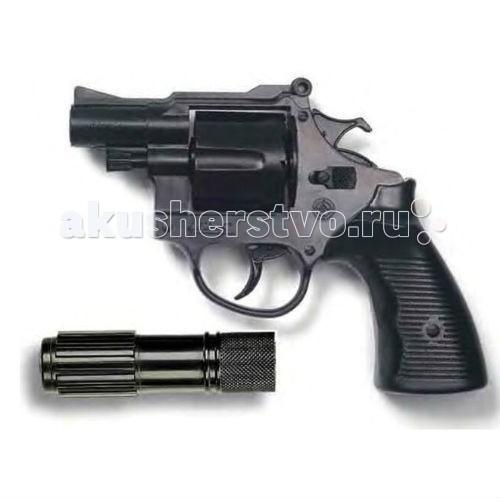 Игрушечное оружие Edison Игрушечный Пистолет с глушителем Американский полицейский/Americana Polizei 22,1 см edison игрушечный пистолет с пистонами eaglematic серия soft touch 17 5 см