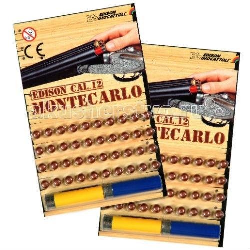 Игрушечное оружие Edison игрушечные пистоны 40 штук и 2 гильзы Монтекарло пистолет edison giocattoli dakota metall western