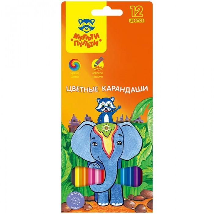 Карандаши, восковые мелки, пастель Мульти-пульти Карандаши цветные Енот в Индии 12 цветов карандаши восковые мелки пастель мульти пульти карандаши енот на лужайке 6 цветов