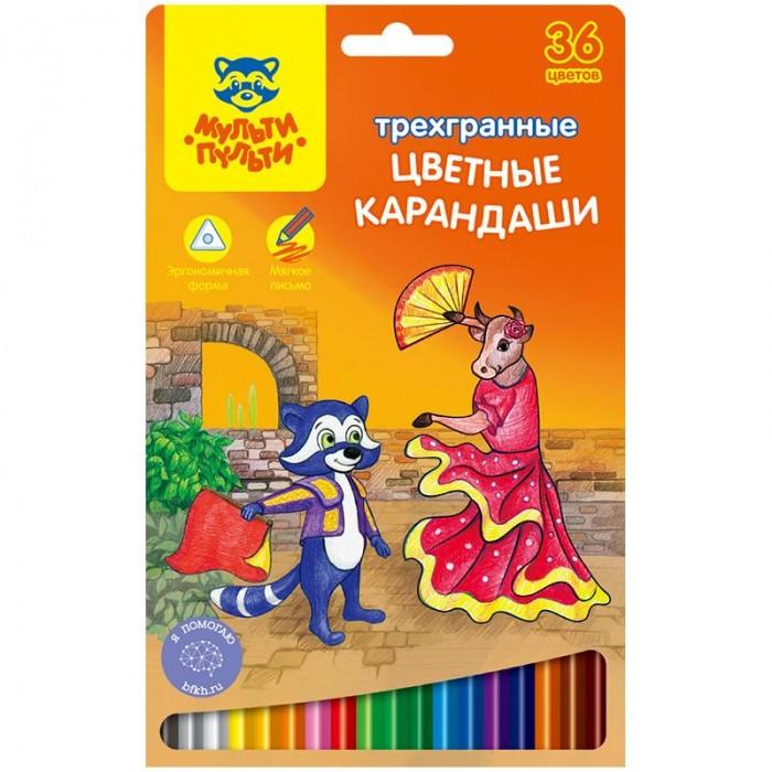 Фото Карандаши, восковые мелки, пастель Мульти-пульти Карандаши цветные трехгранные Енот в Испании 36 цветов