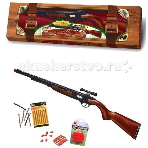 Edison Игрушечная Винтовка с пулькамиИгрушечная Винтовка с пулькамиEdison Игрушечная Винтовка с пульками после того, как вы увидите это игрушечное оружие, вы захотите стрелять именно из него! 90-сантиметровая реалистично выполненная автоматическая игровая винтовка, которая стреляет резиновыми пульками — отличный выбор не только для мальчиков, но и для взрослых мужчин.  Edison Giocattoli - итальянская компания, мировой лидер в производстве игрушечных пистолетов с пульками и пистонами, ружей и винтовок.  Игровое ружье Devon-Line Rifle изготовлено из безопасных для здоровья детей материалов.  Обязательно прочитайте правила эксплуатации игрушки.  В комплекте: игрушечная автоматическая винтовка, пульки.  Длина ружья: 90 см<br>
