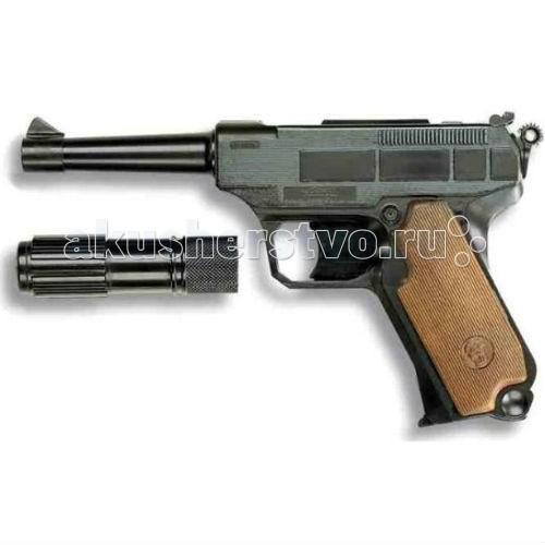 Игрушечное оружие Edison Игрушечный Пистолет с глушителем Lionmatic 26,5 см пистолет edison с мишенями и пульками western line west colt 28 см пульки
