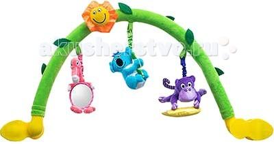 WeeWise Дуга Джунгли 20110Дуга Джунгли 20110WeeWise Дуга 20110.  Гибкая, мягкая арка с игрушками, среди которых фигурка фламинго с безопасным детским зеркалом. Арка легко закрепляется на корпусе прогулочной коляски или детского автокресла, категории 0+, угол её наклона и высота могут регулироваться. Игрушка способствует тренировке следующих навыков: зрительное и слуховое восприятие, мелкая и крупная моторика рук. Арка помогает занять внимание ребенка во время прогулки или поездки.<br>
