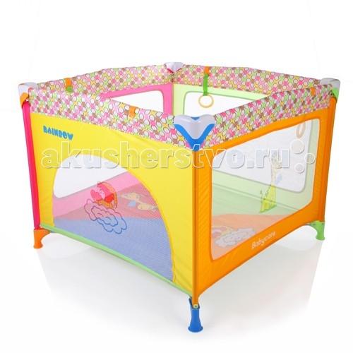 Манеж Baby Care RainbowМанежи<br>Baby Care Rainbow - яркий оригинальный манеж, простой и безопасный. Модель из разряда ничего лишнего. Основное преимущество - это быстрый механизм складывания-раскладывания. Теперь манежу не обязательно постоянно стоять в комнате и занимать место. Его легко можно сложить и убрать при необходимости.   Манеж также предназначен для путешествий, отдыха и поездок на природу. Он очень устойчив. Его можно установить практически на любой поверхности. Для этого есть 4 ножки и еще одна по центру, чтобы дно всегда было ровным.   Малышу, безусловно, придутся по вкусу яркие расцветки манежа. Для детей помладше предусмотрены кольца-держалки, с помощью которых малыш может учиться подниматься на ножки.  Особенности: легкая, воздушная конструкция манеж быстро складывается и быстро раскладывается есть замок-фиксатор, защищающий от произвольного складывания кольца-держалки для малыша можно использовать как в помещении, так и на природе  Размеры (ШxГxВ): 96x96x74 см Вес: 7.9 кг   Комплектация: сумка для переноски.
