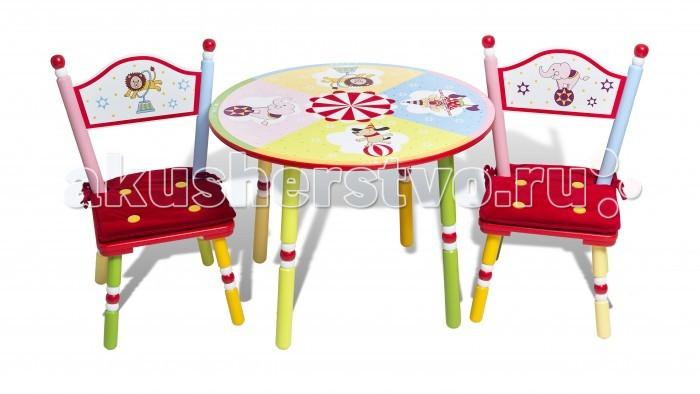Major-Kids Комплект из стола и двух стульев CircusКомплект из стола и двух стульев CircusНевероятно солнечный и яркий комплект детской мебели «Цирк» подарит массу веселья и положительных эмоций детям и взрослым и перенесет на потрясающе красочное представление с участием веселых клоунов и талантливых зверушек!  Все герои и детали цирка расписаны вручную! И вот на арене вместе с нами цирковые артисты: клоун, лев, слон и собачка со своими красочными номерами!   Этот комплект является уникальным в своем роде: впервые при производстве детской мебели было использовано целых 32 цвета! Стараниями искусных мастеров невероятная задумка дизайнера была претворена в жизнь!   Добро пожаловать в цирк! Веселого представления!   • В комплект входит стол и 2 стула  • Уникальная палитра росписи комплекта: 32 цвета!  • Ручная роспись артистов цирка и различных деталей представления на столе и стульях  • Подушки на стулья из высококачественного бархата   Материалы: Дерево, МДФ  Стол: высота: 51 см; диаметр: 74 см  Стул: высота 66 см; высота сиденья 28.5 см<br>