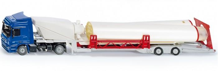 Машины Siku Тягач с ветровой турбиной на прицепе siku siku 1614 тягач с низкорамной платформой и ракетой 1 55