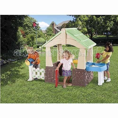 Little Tikes Игровой домик с песочницей 630170Игровой домик с песочницей 630170Игровой домик с песочницей 630170.  Компактный игровой домик можно расположить на открытом воздухе, тогда малыш с друзьями поиграет в теплые летние дни.   В домике есть: открывающаяся дверь, раковина с краном и крышкой, почтовый ящик, разнообразные зоны для игр, кухонька, доска с инструментами, 1 молоточек, 1 отвертка, игровой телефон, водное колесо, 1 чашка для песка, 6 пластиковых гвоздей.<br>