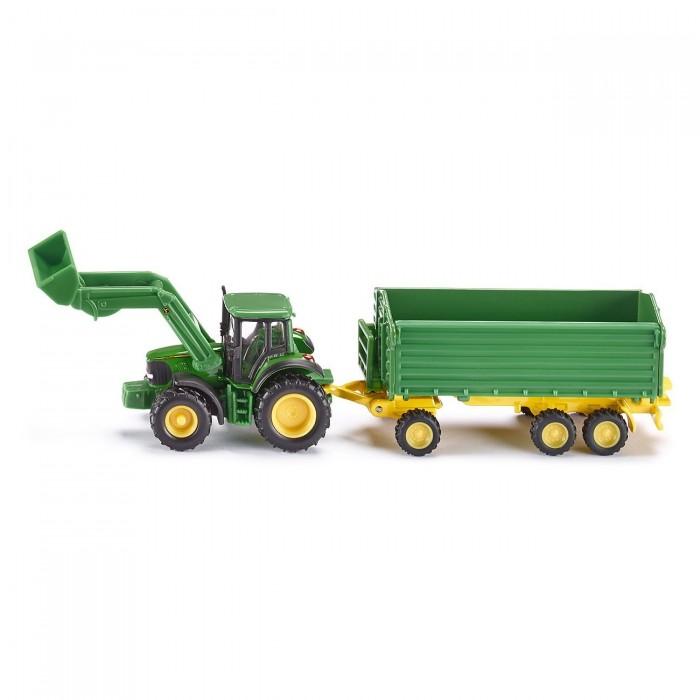 Машины Siku Трактор Джон Дир с ковшом и прицепом-кузовом 1843 siku трактор john deere 8430 с фронтальным погрузчиком