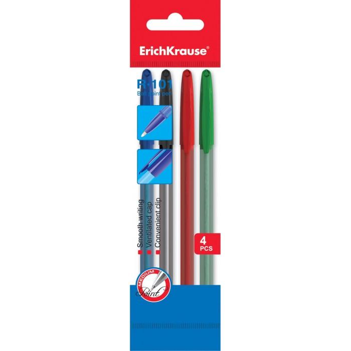 Канцелярия Erich Krause Ручка шариковая R-101 цветные 4 шт.