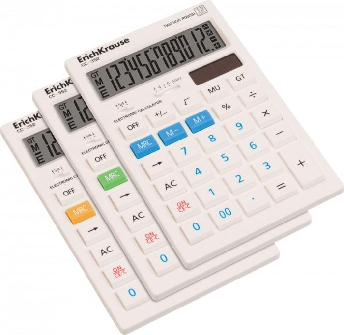 Купить Канцелярия, Erich Krause Калькулятор настольный 12-разрядов White CC-352