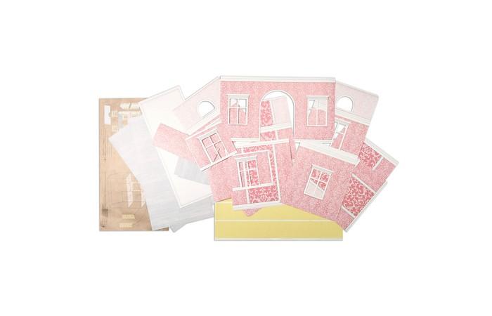 Кукольные домики и мебель ЯиГрушка Набор обоев и ламината для дома с черепичной крышей Розовые сны
