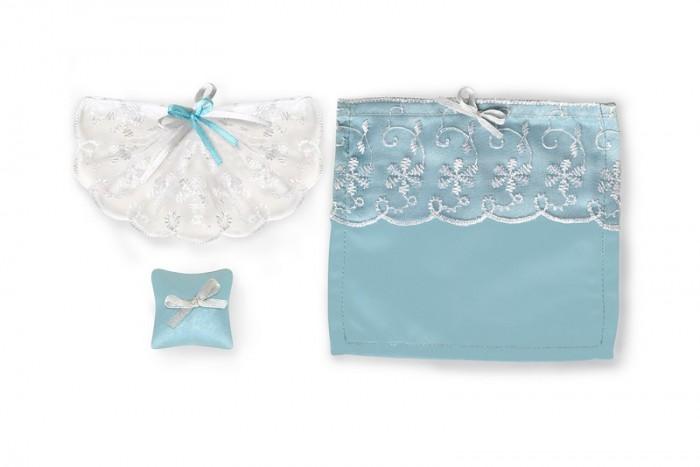Кукольные домики и мебель ЯиГрушка Набор текстиля для дома Голубое небо (шторы, покрывало для кровати, подушки)