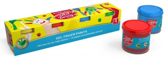 Краски ArtBerry Гелевые пальчиковые краски с Алоэ Вера 4 цвета по 100 мл erich krause набор для творчества artberry пальчиковые краски 4 банки