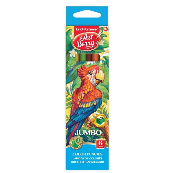 Карандаши, восковые мелки, пастель ArtBerry Цветные карандаши трехгранные Jumbo 6 цветов с точилкой centrum цветные карандаши jumbo 12 цветов