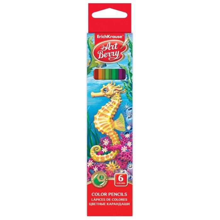 Карандаши, восковые мелки, пастель ArtBerry Цветные карандаши шестигранные 6 цветов карандаши цветные baramba шестигранные 24 цветов
