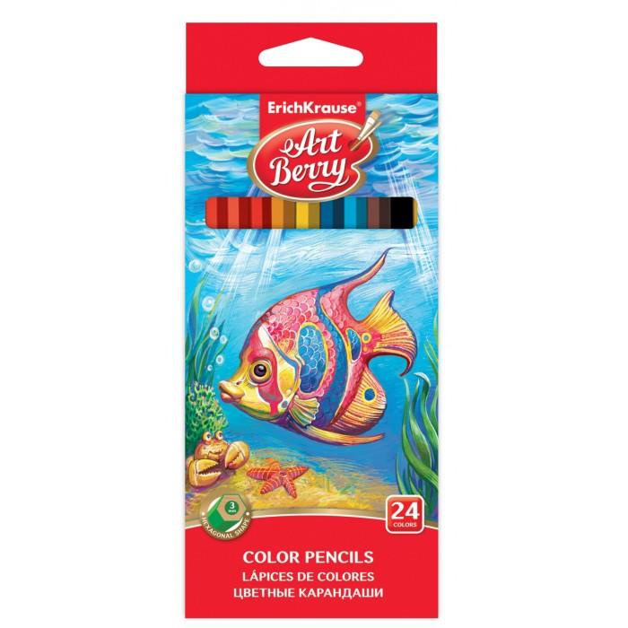 Карандаши, восковые мелки, пастель ArtBerry Цветные карандаши шестигранные 24 цвета карандаши восковые мелки пастель artberry цветные карандаши шестигранные 12 цветов