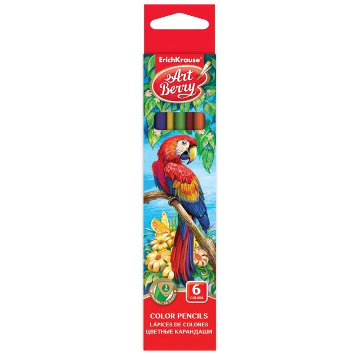 Карандаши, восковые мелки, пастель ArtBerry Цветные карандаши трехгранные 6 цветов карандаши восковые мелки пастель artberry цветные карандаши шестигранные 12 цветов
