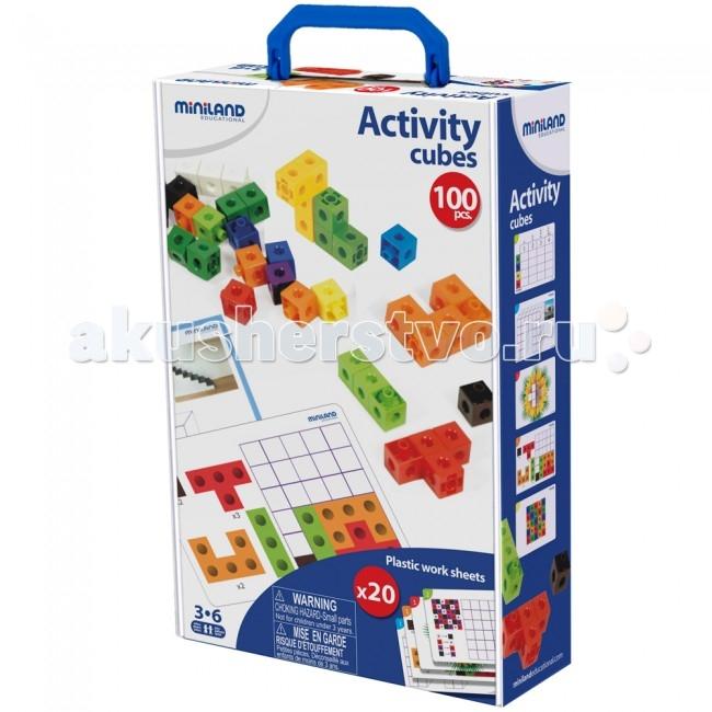 Miniland Математические кубики. Набор кубиков + карточки с заданиямиИгры для малышей <br>Miniland Математические кубики. Набор кубиков + карточки с заданиями для изучения основных математических понятий и математической логики.  Также ребенок учится согласованности движений, тренирует усидчивость, развивает абстрактное и пространственное мышление.  Развивает логику,  математические способности, зрительно-моторную координацию.  Состав: 100 пластиковых кубиков 10 цветов, размером 2 см; к каждой из 6 сторон могут быть прикреплены другие кубики. В наборе также 20 иллюстрированных заданий, методические задания.  Рекомендованный возраст: от 5 до 8 лет.