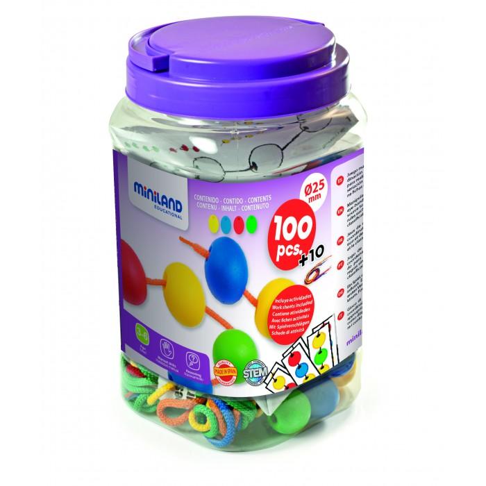 Купить Развивающие игрушки, Развивающая игрушка Miniland Шнуровка шарики 25мм 100 шт