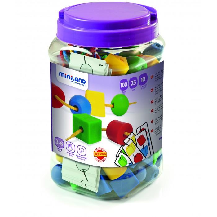 Купить Развивающие игрушки, Развивающая игрушка Miniland Шнуровка геометрические фигуры 25 мм 100 шт