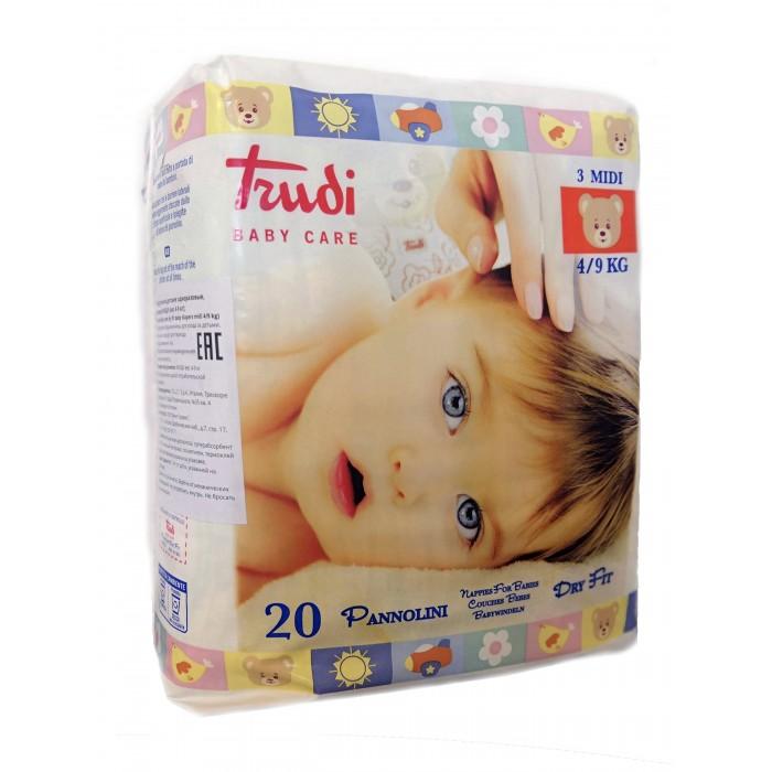 Подгузники Trudi детские для новорожденных Midi S (4-9 кг) 20 шт.