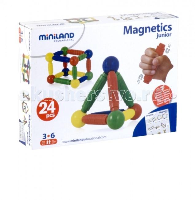 Конструктор Miniland Magnetics Junior магнитный 24 элементаMagnetics Junior магнитный 24 элементаМагнитный конструктор со средними деталями.   Развивает креативность и творчество, стремление к познаниям, моторику, когнитивные навыки, чувство формы, пространственно-объемное и техническое мышление.   24 детали. Максимальный размер детали - 87 мм.   В наборе методические указания для родителей и педагогов.  Вся продукция Miniland выполнена из качественных, безопасных материалов, которые проходят строгий контроль соответствия действующим нормам безопасности.<br>