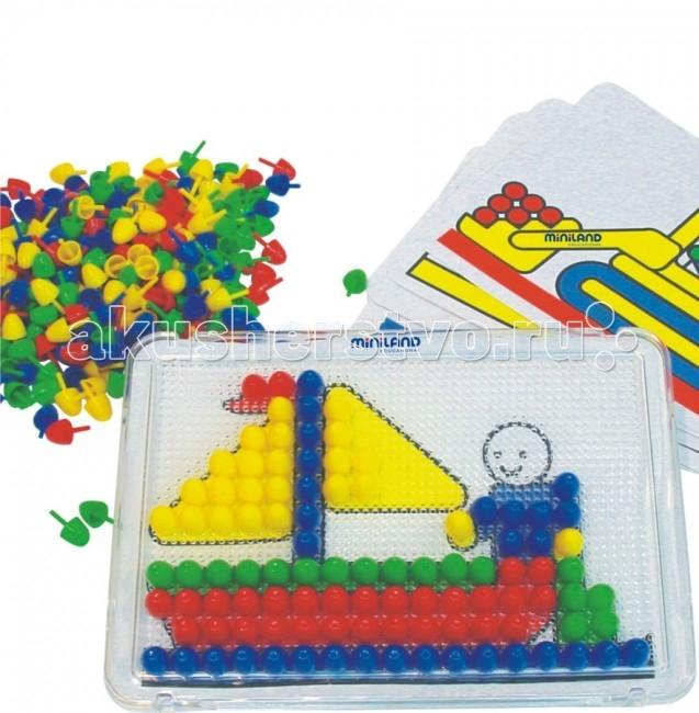 Miniland Мозаика 15 мм 300 элементовМозаика 15 мм 300 элементовИгрушка выполнена из экологически чистой пластмассы.  Размер деталей 15 мм в диаметре.  В комплект входят прозрачная доска из оргстекла с отверстиями, 300 фишек четырех основных цветов (красный, желтый, синий, зеленый) и 6 плоских трафаретов.  В отличие от подобных обычных игрушек-мозаик, прозрачная игровая доска позволяет помещать под ней пластинки-модели и копировать их на доске с помощью фишек. Пластинки очень тонкие, и в то же время красочные и понятные.  Вся продукция Miniland выполнена из качественных, безопасных материалов, которые проходят строгий контроль соответствия действующим нормам безопасности.<br>