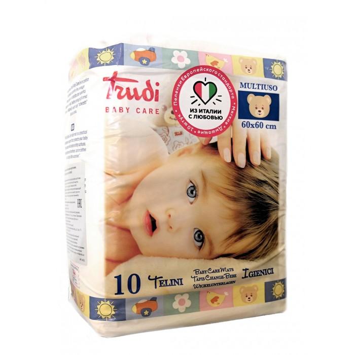 Одноразовые пеленки Trudi Пеленки детские одноразовые 60х60 см 10 шт. мягкие игрушки trudi лайка маркус 34 см
