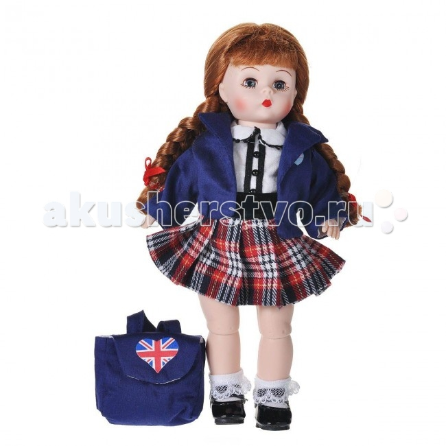 Madame Alexander Кукла Британская школьница 20 смКукла Британская школьница 20 смКукла Madame Alexander Британская школьница - очаровательная кукла с личиком Венди, с голубыми глазами и длинными заплетенными в две косички волосами.   Одета кукла в школьную форму, которая представляет собой темно-синий пиджак, белую блузку и плиссированную клетчатую юбку. Воротничок и планка блузки украшены сутажом и черными кнопками. На ногах кружевные носочки и черные ботиночки. На спине темно-синий рюкзачок с британской символикой.  Кукла 20 см. Выполнена из высококачественного винила. Глазки из стекла, закрываются. Ручки и ножки двигаются. Тончайшая проработка черт лица. Многослойная одежда, разработанная известными дизайнерами, выполнена из качественных натуральных тканей.   Более 90 лет назад Беатрис Александер Берман, дочь русского эмигранта, преобразовала мастерскую своего отца и основала компанию Madamе Alexander по производству кукол. Сегодня бренд Мадам Александер - всемирно известная марка, под которой создаются игровые и коллекционные виниловые куклы, достойные восхищения.<br>