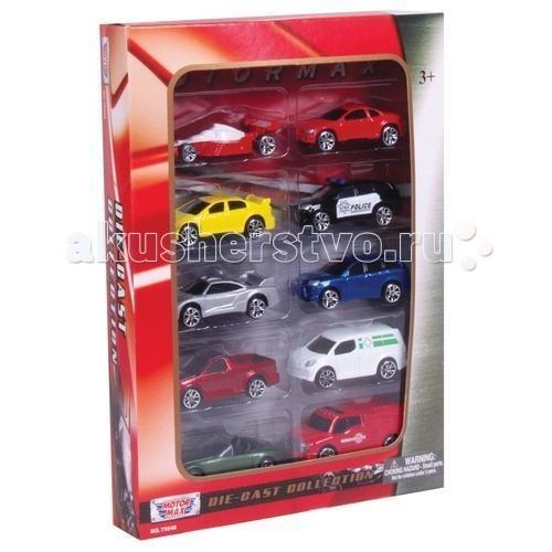 Машины MotorMax Игровой набор с коллекционными машинками 10 штук 1:64