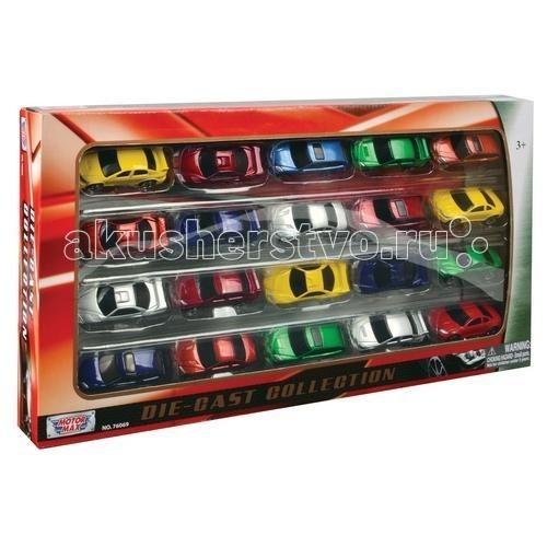 MotorMax Набор моделей нелицензионных машинок 20 штукНабор моделей нелицензионных машинок 20 штукMotorMaxНабор моделей нелицензионных машинок 20 штук - великолепный набор для юного гонщика и водителя, а также для взрослого коллекционера, сделанный гонконгским брендом Motormax с особым вниманием к каждой детали машинок. Соберите уникальный автопарк, поражающий внимание разнообразием предлагаемых моделей.   В коллекционном игровом наборе от Motormax вы обнаружите мощные спорткары, семейные просторные купе, редкие ретроавтомобили и тематические машинки.   Яркие разноцветные автомобили являются копиями настоящих машин, у них прорезиненные колеса, которые легко и быстро катятся по ровной поверхности. Машинки нелицензированы.   Игра с набором развивает воображение малыша, позволяя ему проигрывать разные ситуации и фантазировать. Игра с машинками отлично тренирует мелкую моторику  Количество: 20 шт Размеры: 7,6 см. Масштаб: 1:64<br>