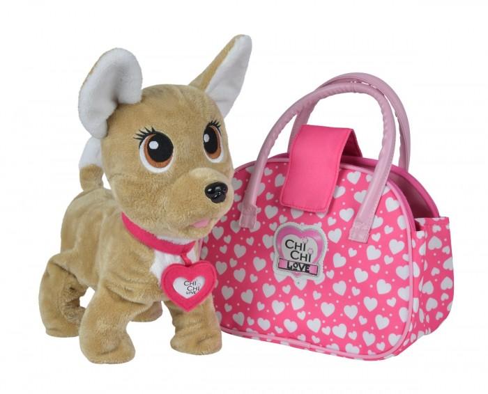 Купить Интерактивные игрушки, Интерактивная игрушка Chi-Chi Love плюшевая собачка Счастливчик с сумочкой 20 см