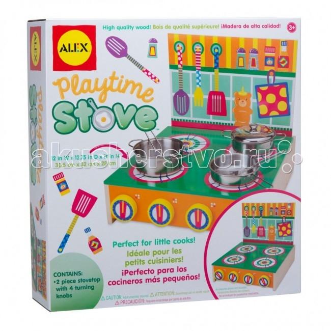 Alex Кухонная плитаКухонная плитаОдними из любимых игрушек девочек являются кухонные приборы - с ними дети могут играть часами. Американская марка Alex выпустила игровой набор, состоящий из красочной и простой в обращении кухонной плиты. Эта игрушка выполнена из древесины, поэтому она совершенно безопасна для детских игр.  На передней панели кухонной плиты расположены 4 ручки, которые можно поворачивать. Плита покрыта безвредной краской, что особенно оценят родители, для которых очень важно, чтобы игрушка была максимально безопасной для ребенка.  Играя с этой кухонной плитой, малыш развивает: мелкую моторку мышление фантазию тактильные навыки  Ширина 34 см, высота 35 см.  Alex - лидирующий в США бренд игрушек и наборов для детского творчества, развивающих игрушек для малышей, обладающий яркой индивидуальностью и собственным неповторимым стилем. На сегодняшний день продукция Alex продается в более чем 80 странах мира. Alex помогает детям пойти по радостному пути творчества, обучения через игру и свободного самовыражения.<br>