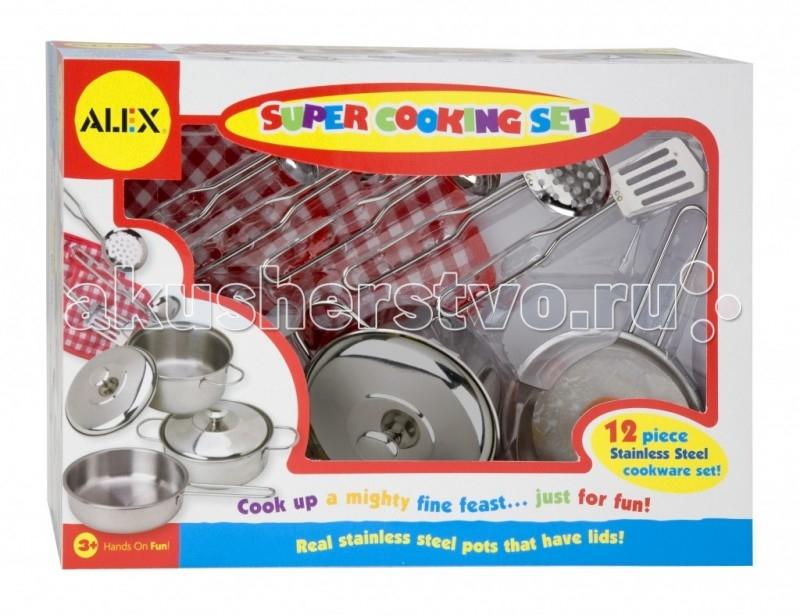 Alex Набор посуды Супер кулинар 12 предметовНабор посуды Супер кулинар 12 предметовПрекрасный набор посуды для маленькой хозяйки. Все как у мамы!   В наборе 12 предметов: 2 кастрюли, 2 крышки, сковорода, шумовка, половник, лопатка, ложка для пасты, ложка с прорезями, 2 прихватки.  Эргономичный дизайн, материал, форма посуды и ее функциональность - всё, что необходимо для пользования набором в процессе ролевой игры. Все элементы набора выполнены из абсолютно безопасного и высококачественного материла, стойкого к изнашиванию.  Alex - лидирующий в США бренд игрушек и наборов для детского творчества, развивающих игрушек для малышей, обладающий яркой индивидуальностью и собственным неповторимым стилем. На сегодняшний день продукция Alex продается в более чем 80 странах мира. Alex помогает детям пойти по радостному пути творчества, обучения через игру и свободного самовыражения.<br>
