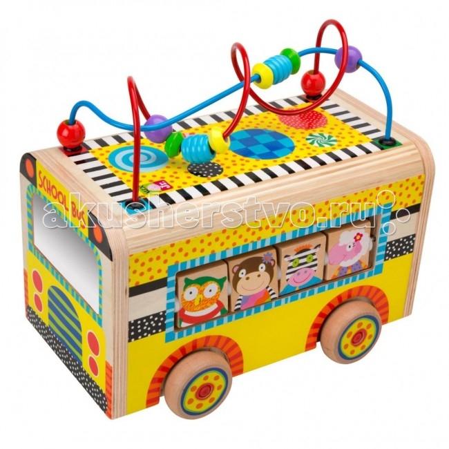 Деревянная игрушка Alex Веселый автобусВеселый автобусРазвивающий деревянный центр Веселый автобус - развивающая игрушка предназначена для детей от 10 месяцев.   Веселый автобус состоит из деревянных элементов, играя с которыми малыш будет развивать мелкую моторику ручек. На крыше автобуса расположены бусины разных цветов и разной формы, которые можно перемещать по направляющим.   В окошках автобусах можно увидеть зверюшек, изображения которых нанесены на деревянные вращающиеся дощечки. Веселый автобус можно катать по полу.  Яркая окраска игрушки познакомит малыша с основными цветами и узорами - полоска, клеточка, волна, пунктир. Способствует комплексному развитию малышей.  Alex - лидирующий в США бренд игрушек и наборов для детского творчества, развивающих игрушек для малышей, обладающий яркой индивидуальностью и собственным неповторимым стилем. На сегодняшний день продукция Alex продается в более чем 80 странах мира. Alex помогает детям пойти по радостному пути творчества, обучения через игру и свободного самовыражения.<br>